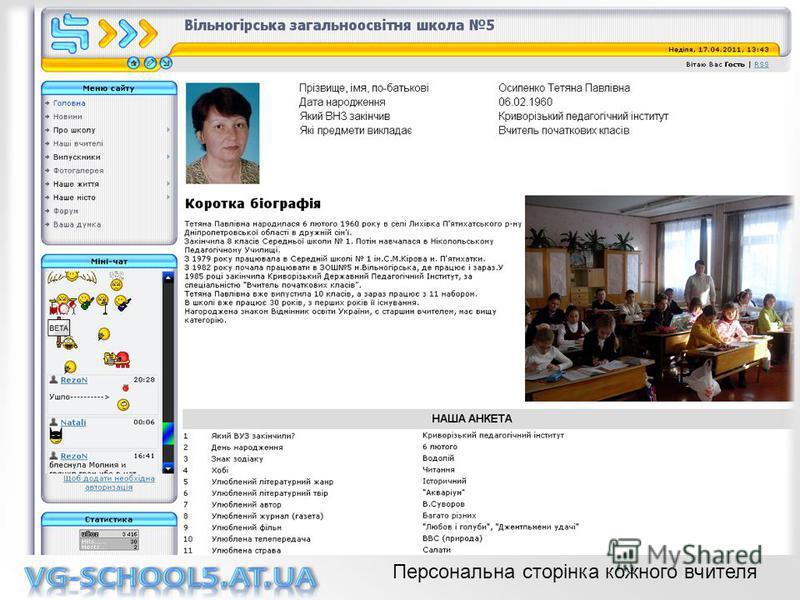 Персональна сторінка кожного вчителя