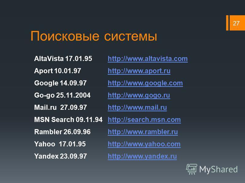 Поисковые системы 27 AltaVista 17.01.95http://www.altavista.comhttp://www.altavista.com Aport 10.01.97http://www.aport.ruhttp://www.aport.ru Google 14.09.97http://www.google.comhttp://www.google.com Go-go 25.11.2004http://www.gogo.ruhttp://www.gogo.r