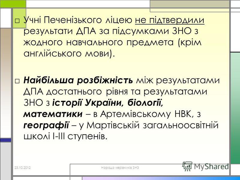 Учні Печенізького ліцею не підтвердили результати ДПА за підсумками ЗНО з жодного навчального предмета (крім англійського мови). Найбільша розбіжність між результатами ДПА достатнього рівня та результатами ЗНО з історії України, біології, математики