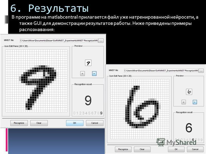 6. Результаты В программе на matlabcentral прилагается файл уже натренированной нейросети, а также GUI для демонстрации результатов работы. Ниже приведены примеры распознавания: