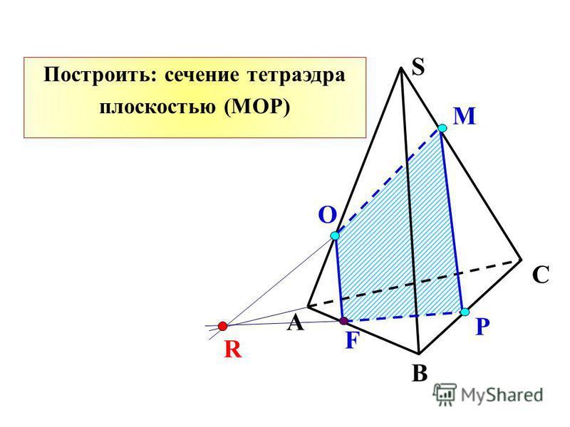 Р О М А В С S F R Построить: сечение тетраэдра плоскостью (MОР)