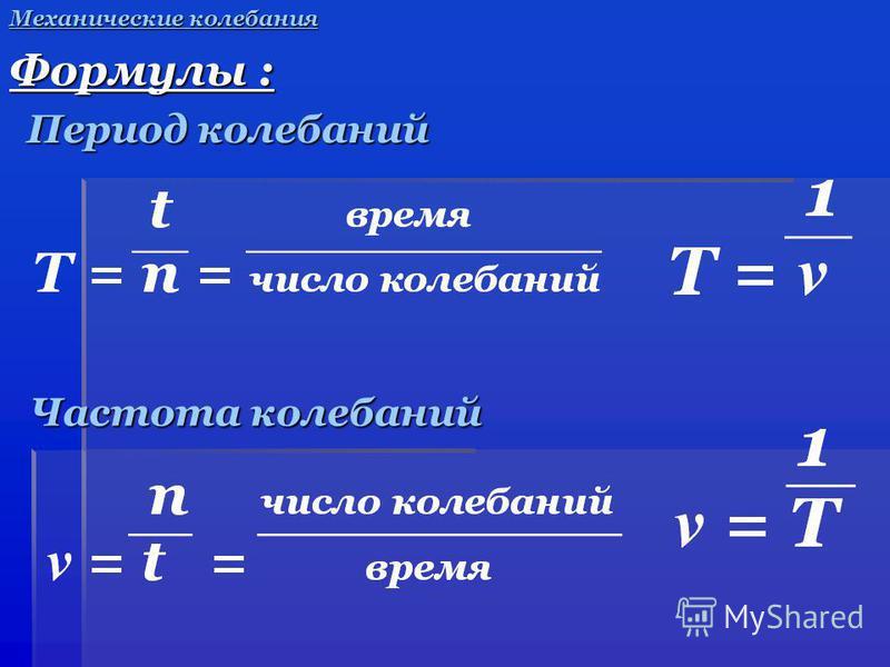 Частота колебаний Частота колебаний Механические колебания Формулы : Период колебаний Период колебаний