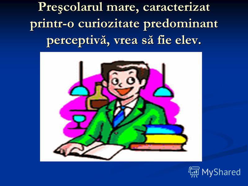 Preşcolarul mare, caracterizat printr-o curiozitate predominant perceptivă, vrea să fie elev.