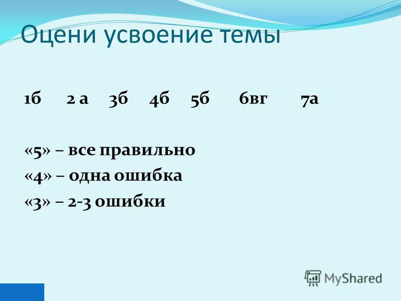 Оцени усвоение темы 1 б 2 а 3 б 4 б 5 б 6 в г 7 а «5» – все правильно «4» – одна ошибка «3» – 2-3 ошибки