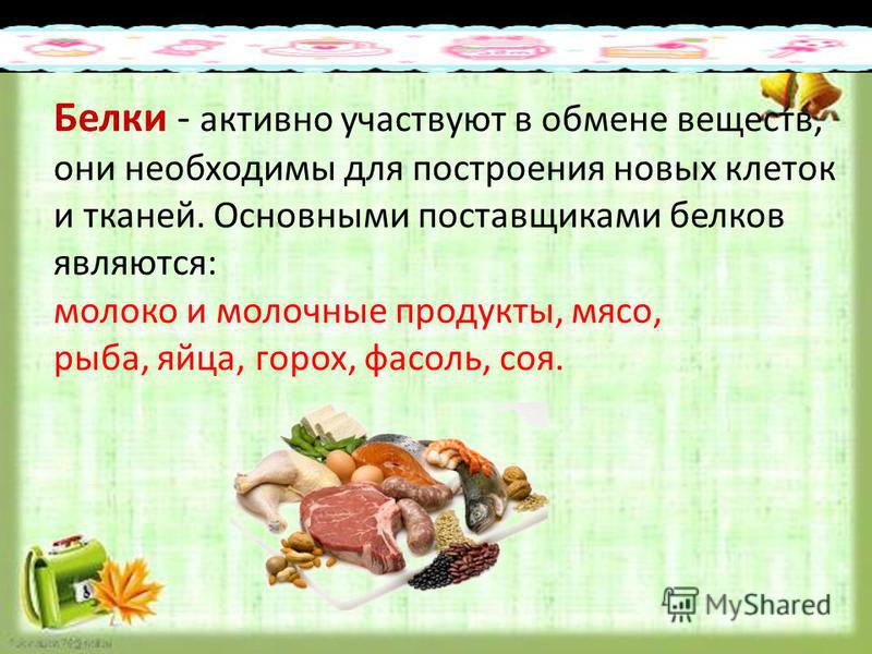 Образец подзаголовка 25.3.15 Белки - активно участвуют в обмене веществ, они необходимы для построения новых клеток и тканей. Основными поставщиками белков являются: молоко и молочные продукты, мясо, рыба, яйца, горох, фасоль, соя.