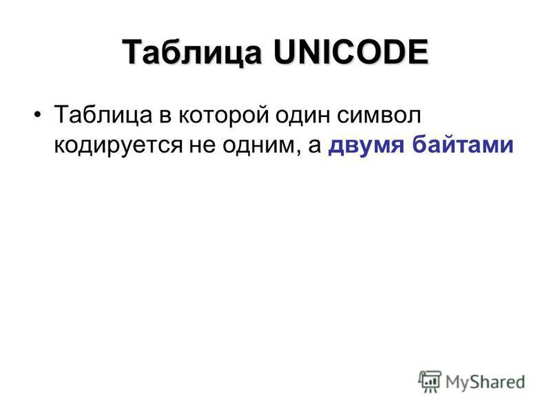Таблица UNICODE Таблица в которой один символ кодируется не одним, а двумя байтами