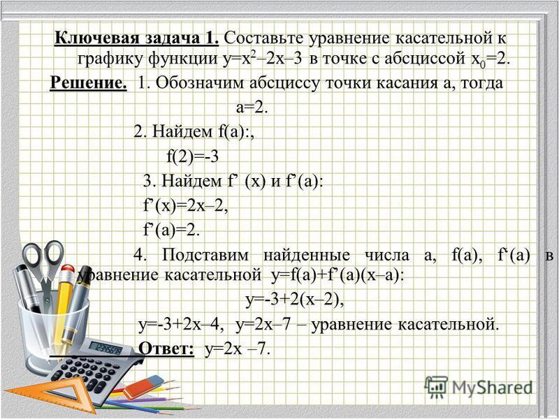 Ключевая задача 1. Составьте уравнение касательной к графику функции у=х 2 –2 х–3 в точке с абсциссой х 0 =2. Решение. 1. Обозначим абсциссу точки касания а, тогда а=2. 2. Найдем f(a):, f(2)=-3 3. Найдем f (x) и f(a): f(x)=2x–2, f(a)=2. 4. Подставим