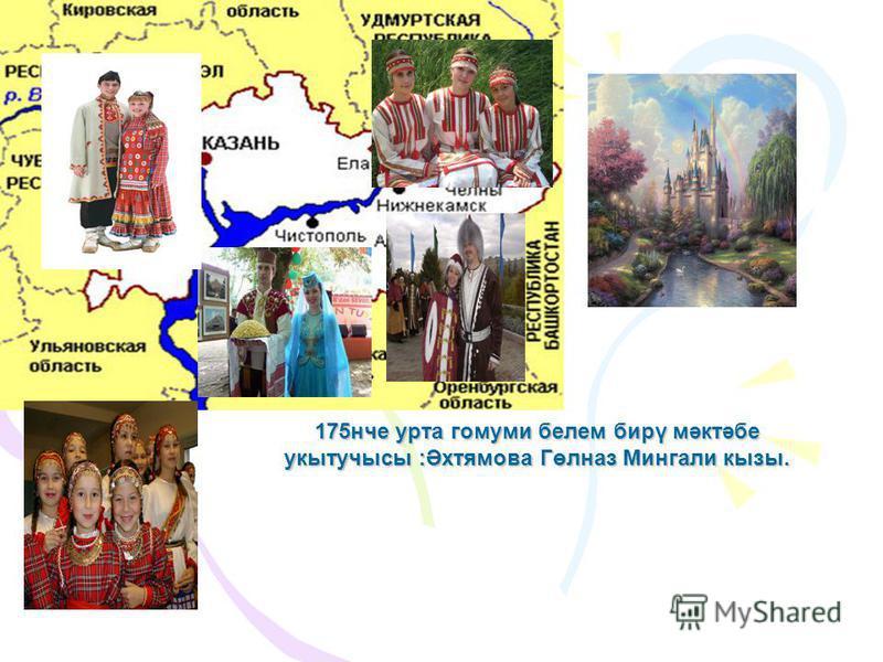175нче урта гомуми белем бирү мәктәбе укытучысы :Әхтямова Гөлназ Мингали кызы.
