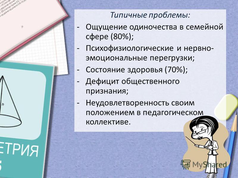 Типичные проблемы: -Ощущение одиночества в семейной сфере (80%); -Психофизиологические и нервно- эмоциональные перегрузки; -Состояние здоровья (70%); -Дефицит общественного признания; -Неудовлетворенность своим положением в педагогическом коллективе.
