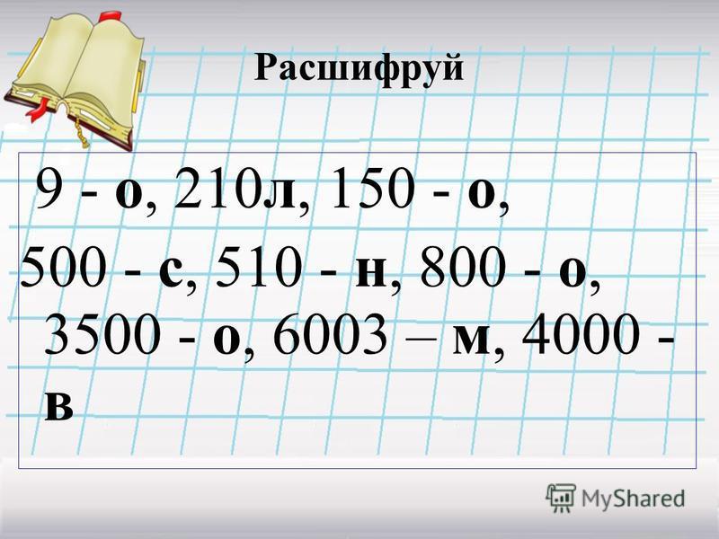 Расшифруй 9 - о, 210 л, 150 - о, 500 - с, 510 - н, 800 - о, 3500 - о, 6003 – м, 4000 - в