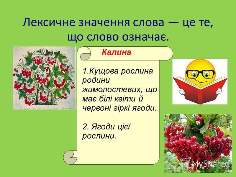 Лексичне значення слова це те, що слово означає. Калина 1.Кущова рослина родини жимолостевих, що має білі квіти й червоні гіркі ягоди. 2. Ягоди цієї рослини.