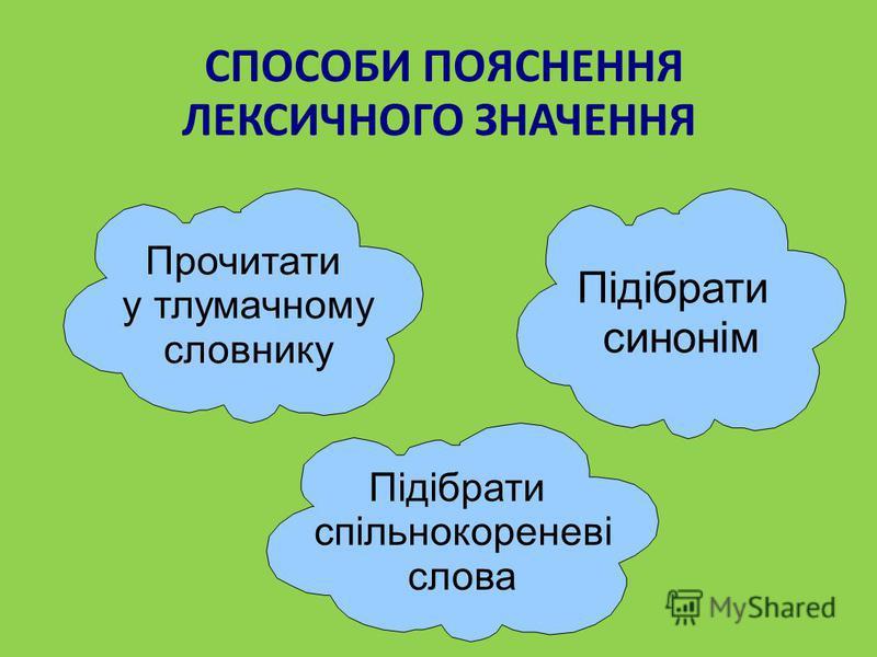 СПОСОБИ ПОЯСНЕННЯ ЛЕКСИЧНОГО ЗНАЧЕННЯ Прочитати у тлумачному словнику Підібрати синонім Підібрати спільнокореневі слова