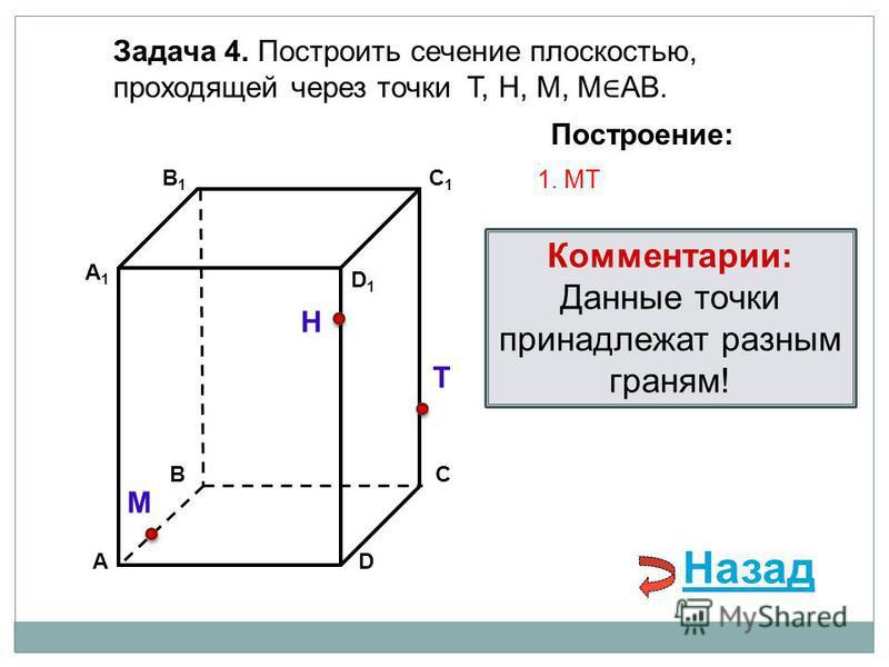 АD В1В1 ВС А1А1 C1C1 D1D1 Задача 4. Построить сечение плоскостью, проходящей через точки Т, Н, М, М АВ. Н Т М Построение: 1. МT Комментарии: Данные точки принадлежат разным граням! Назад