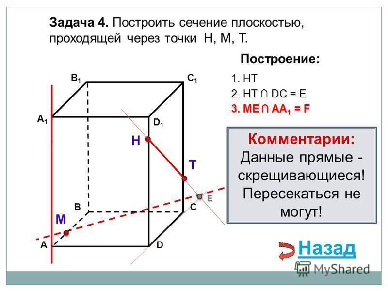 АD В1В1 ВС А1А1 C1C1 D1D1 Задача 4. Построить сечение плоскостью, проходящей через точки Н, М, Т. Н Т М Построение: 1. НТ 3. ME AA 1 = F 2. НТ DС = E E Назад Комментарии: Данные прямые - скрещивающиеся! Пересекаться не могут!