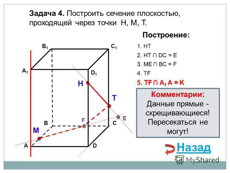 АD В1В1 ВС А1А1 C1C1 D1D1 Задача 4. Построить сечение плоскостью, проходящей через точки Н, М, Т. Н Т М Построение: 1. НТ 2. НТ DС = E E 3. ME ВС = F F F 4. ТF F А 1 А = K 5. ТF А 1 А = K Комментарии: Данные прямые - скрещивающиеся! Пересекаться не м