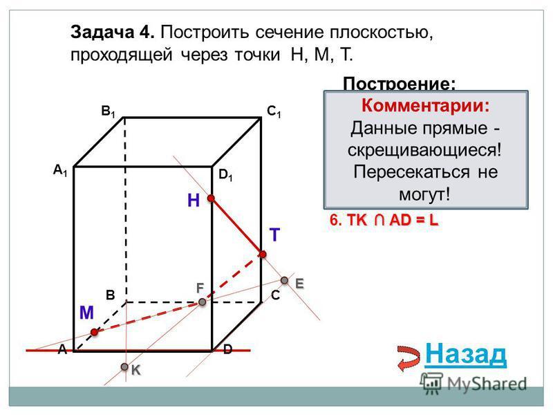 АD В1В1 ВС А1А1 C1C1 D1D1 Задача 4. Построить сечение плоскостью, проходящей через точки Н, М, Т. Н Т М Построение: 1. НТ 2. НТ DС = E E 3. ME ВС = F F F 4. ТF F В 1 В = K 5. ТF В 1 В = K K K АD = L 6. TK АD = L Комментарии: Данные прямые - скрещиваю