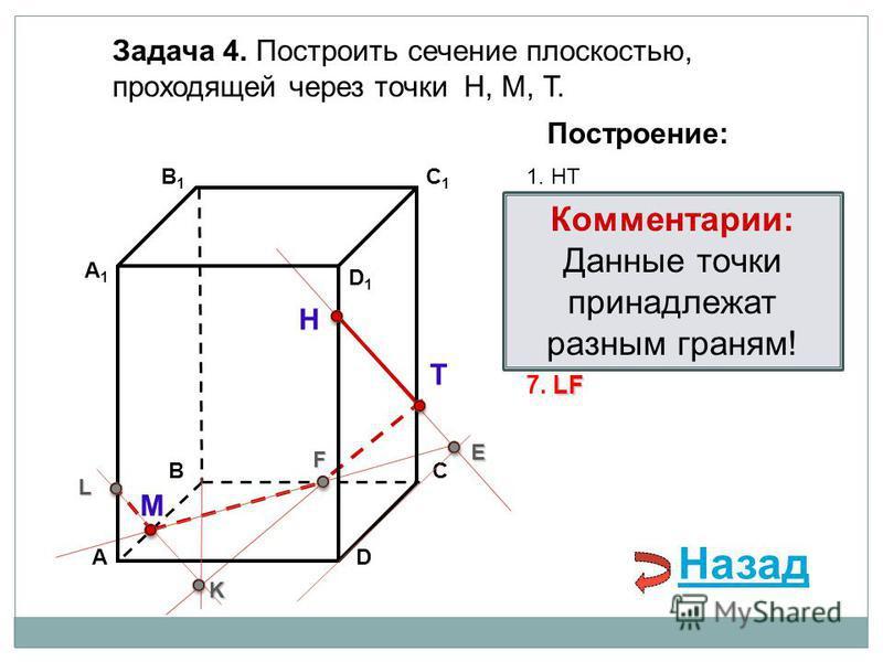 АD В1В1 ВС А1А1 C1C1 D1D1 Задача 4. Построить сечение плоскостью, проходящей через точки Н, М, Т. Н Т М Построение: 1. НТ 2. НТ DС = E E 3. ME ВС = F F F 4. ТF F В 1 В = K 5. ТF В 1 В = K K K АА 1 = L 6. МK АА 1 = L L LF 7. LF Комментарии: Данные точ