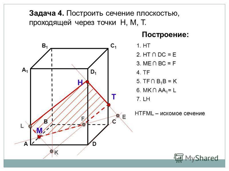 АD В1В1 ВС А1А1 C1C1 D1D1 Задача 4. Построить сечение плоскостью, проходящей через точки Н, М, Т. Н Т М Построение: 1. НТ 2. НТ DС = E E 3. ME ВС = F F F 4. ТF F В 1 В = K 5. ТF В 1 В = K K K АА 1 = L 6. МK АА 1 = L L L 7. LН FМL – искомое сечение НТ