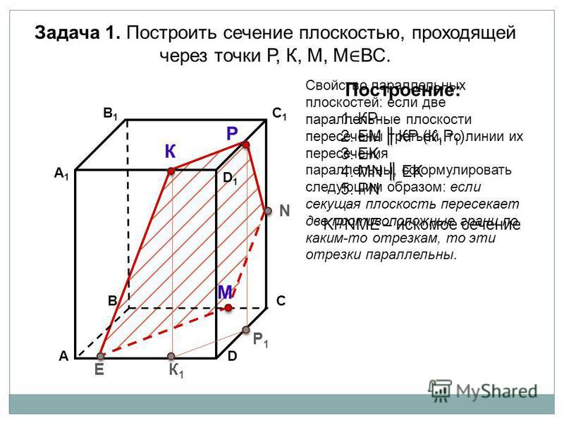 АD В1В1 ВС А1А1 C1C1 D1D1 Задача 1. Построить сечение плоскостью, проходящей через точки Р, К, М, М ВС. К Р М Построение: 1. КP 2. EM КP (К 1 Р 1 ) 3. EK KРNМE – искомое сечение К1К1 Р1Р1 E N 4. МN EK 5. РN Свойство параллельных плоскостей: если две