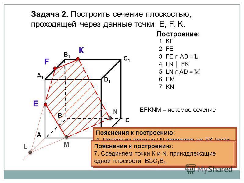 Пояснения к построению: 1. Соединяем точки K и F, принадлежащие одной плоскости А 1 В 1 С 1 D 1. А D В1В1 В С А1А1 C1C1 D1D1 Задача 2. Построить сечение плоскостью, проходящей через данные точки Е, F, K. К L М Построение: 1. KF 2. FE = L 3. FE АB = L