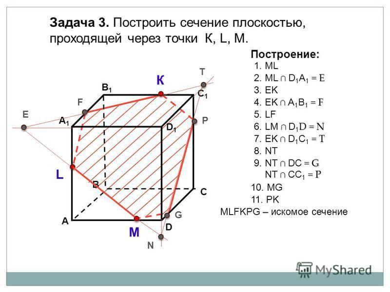 А D В1В1 В С А1А1 C1C1 D1D1 Задача 3. Построить сечение плоскостью, проходящей через точки К, L, М. К L М Построение: 1. ML = E 2. ML D 1 А 1 = E 3. EK МLFKPG – искомое сечение F E N P G T = F 4. EK А 1 B 1 = F D = N 6. LM D 1 D = N 5. LF = T 7. ЕK D