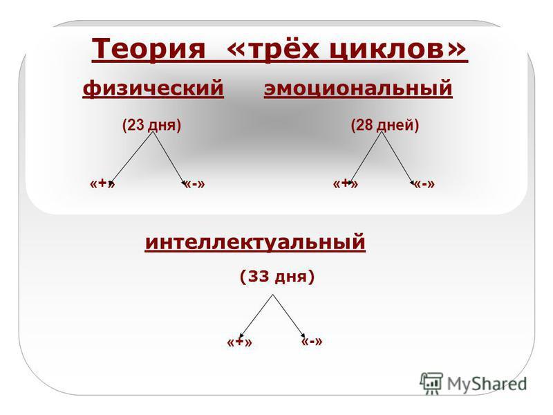 Теория «трёх циклов» физический эмоциональный (23 дня) (28 дней) «+» «-» «+» «-» интеллектуальный (33 дня) «+» «-»