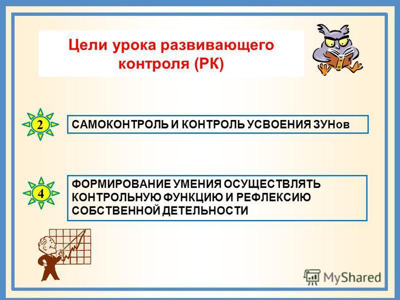 Цели урока развивающего контроля (РК) САМОКОНТРОЛЬ И КОНТРОЛЬ УСВОЕНИЯ ЗУНов ФОРМИРОВАНИЕ УМЕНИЯ ОСУЩЕСТВЛЯТЬ КОНТРОЛЬНУЮ ФУНКЦИЮ И РЕФЛЕКСИЮ СОБСТВЕННОЙ ДЕТЕЛЬНОСТИ 2 4