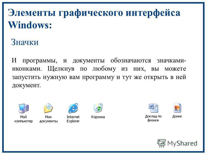 Элементы графического интерфейса Windows: Значки И программы, и документы обозначаются значками- иконками. Щелкнув по любому из них, вы можете запустить нужную вам программу и тут же открыть в ней документ.