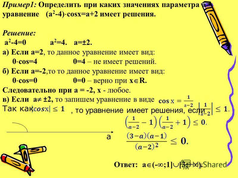 Пример 1: Определить при каких значениях параметра а уравнение (а 2 -4) соsх=а+2 имеет решения. Решение: а 2 -4=0 а 2 =4.а=±2. а) Если а=2, то данное уравнение имеет вид: 0 cos=4 0=4 – не имеет решений. б) Если а=-2,то то данное уравнение имеет вид: