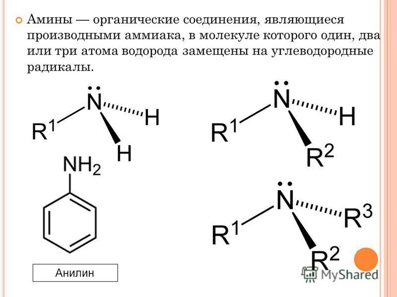 Амины органические соединения, являющиеся производными аммиака, в молекуле которого один, два или три атома водорода замещены на углеводородные радикалы. Анилин