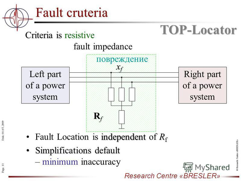Page 11 Research Centre «BRESLER» Date: 01.07..2009 © Research Centre «BRESLER» Fault cruteria Criteria is Criteria is resistive fault impedance independent R fFault Location is independent of R f Simplifications defaultSimplifications default – mini