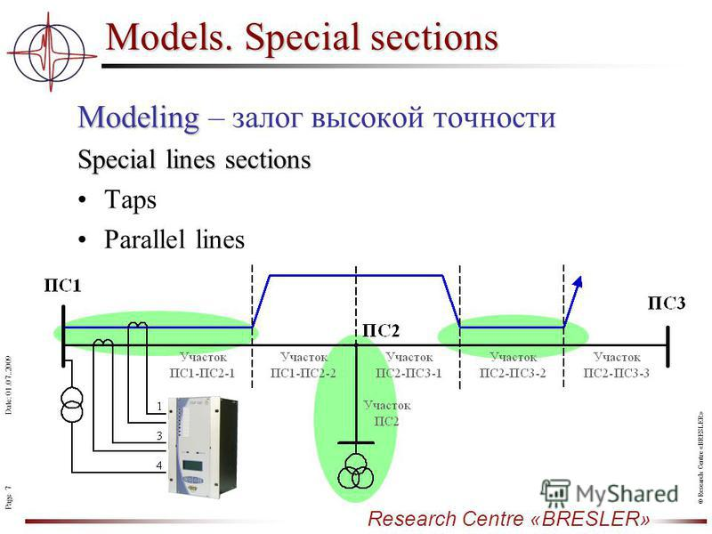 Page 7 Research Centre «BRESLER» Date: 01.07..2009 © Research Centre «BRESLER» Models. Special sections Modeling Modeling – залог высокой точности Special lines sections Taps Parallel lines