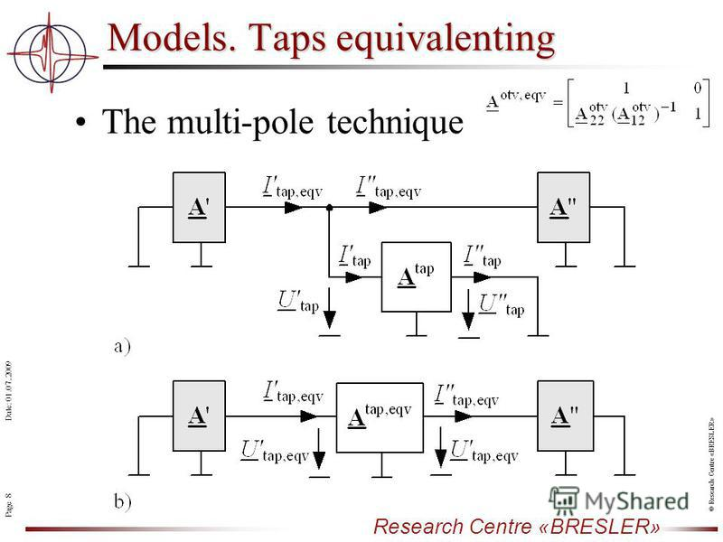 Page 8 Research Centre «BRESLER» Date: 01.07..2009 © Research Centre «BRESLER» The multi-pole technique Models. Taps equivalenting
