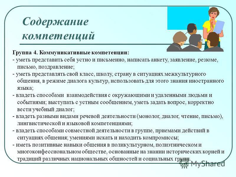 Группа 4. Коммуникативные компетенции: - уметь представить себя устно и письменно, написать анкету, заявление, резюме, письмо, поздравление; - уметь представлять свой класс, школу, страну в ситуациях межкультурного общения, в режиме диалога культур,