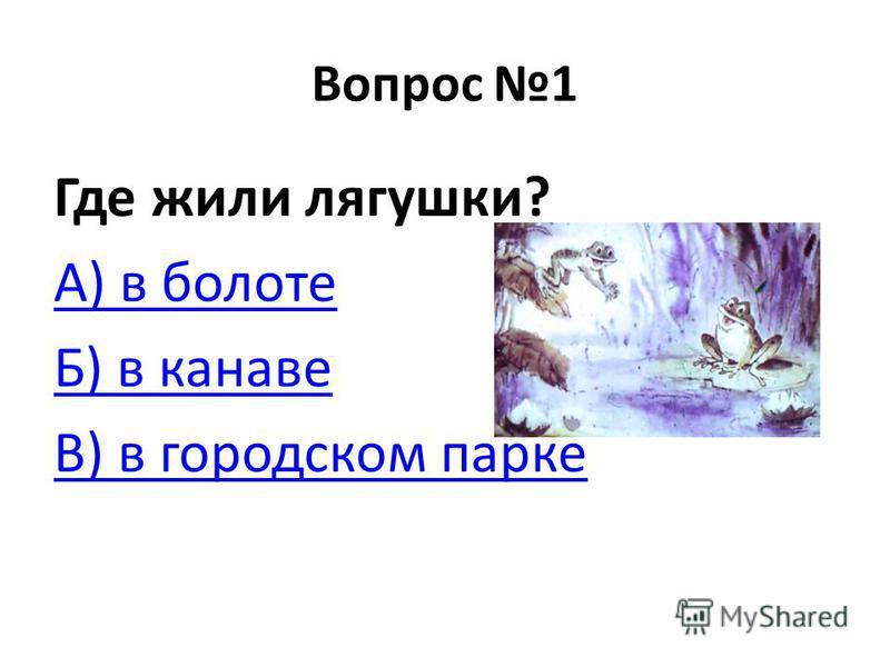 Вопрос 1 Где жили лягушки? А) в болоте Б) в канаве В) в городском парке