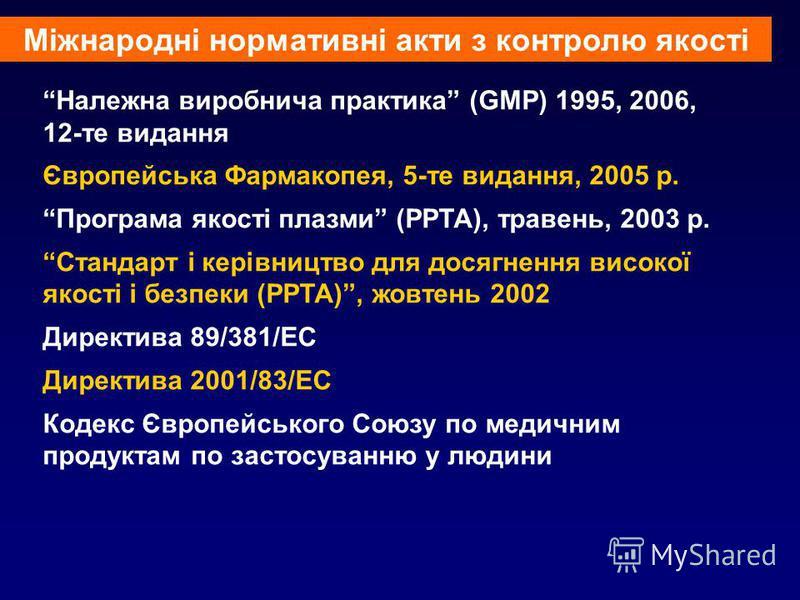 Належна виробнича практика (GMP) 1995, 2006, 12-те видання Європейська Фармакопея, 5-те видання, 2005 р. Програма якості плазми (РРТА), травень, 2003 р. Стандарт і керівництво для досягнення високої якості і безпеки (РРТА), жовтень 2002 Директива 89/