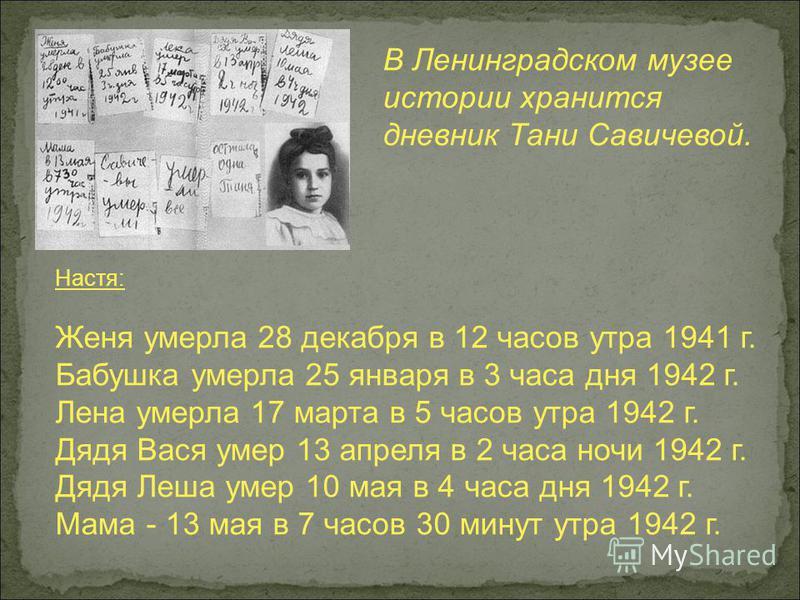 В Ленинградском музее истории хранится дневник Тани Савичевой. Настя: Женя умерла 28 декабря в 12 часов утра 1941 г. Бабушка умерла 25 января в 3 часа дня 1942 г. Лена умерла 17 марта в 5 часов утра 1942 г. Дядя Вася умер 13 апреля в 2 часа ночи 1942