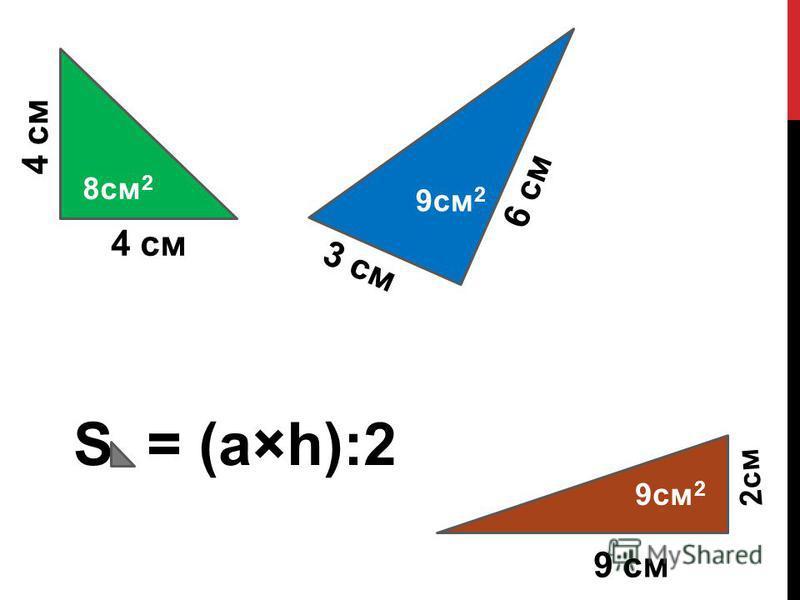 8 см 2 4 см 6 см 3 см 2 см 9 см S = (а×h):2 9 см 2