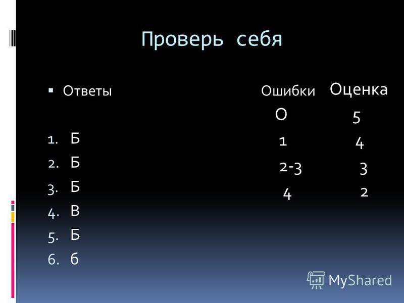 Проверь себя Ответы Ошибки 1. Б 2. Б 3. Б 4. В 5. Б 6. б Оценка О 5 1 4 2-3 3 4 2