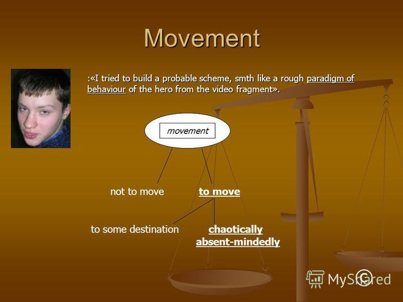 Movement :«I tried to build a probable scheme, smth like a rough paradigm of behaviour of the hero from the video fragment». movement not to moveto move to some destinationchaotically absent-mindedly ©