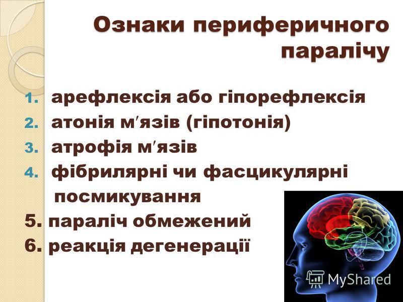 Ознаки периферичного паралічу 1. арефлексія або гіпорефлексія 2. атонія м язів (гіпотонія) 3. атрофія м язів 4. фібрилярні чи фасцикулярні посмикування 5. параліч обмежений 6. реакція дегенерації