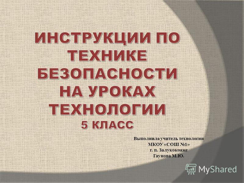 Выполнила учитель технологии МКОУ «СОШ 1» г. п. Залукокоаже Гаунова М.Ю.