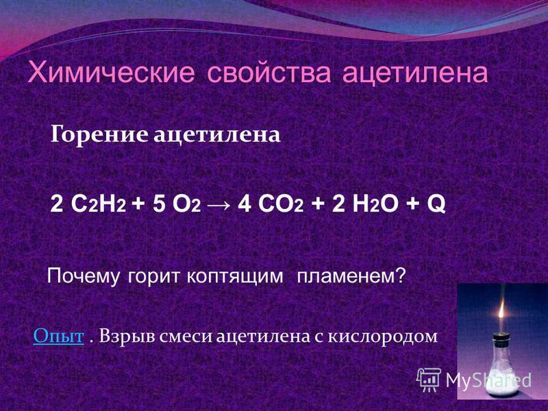 Химические свойства ацетилена Горение ацетилена 2 С 2 Н 2 + 5 О 2 4 СО 2 + 2 Н 2 О + Q Почему горит коптящим пламенем? Опыт Опыт. Взрыв смеси ацетилена с кислородом