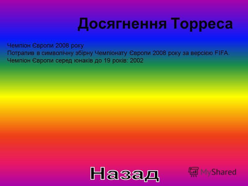 Досягнення Торреса Чемпіон Європи 2008 року Потрапив в символічну збірну Чемпіонату Європи 2008 року за версією FIFA. Чемпіон Європи серед юнаків до 19 років: 2002