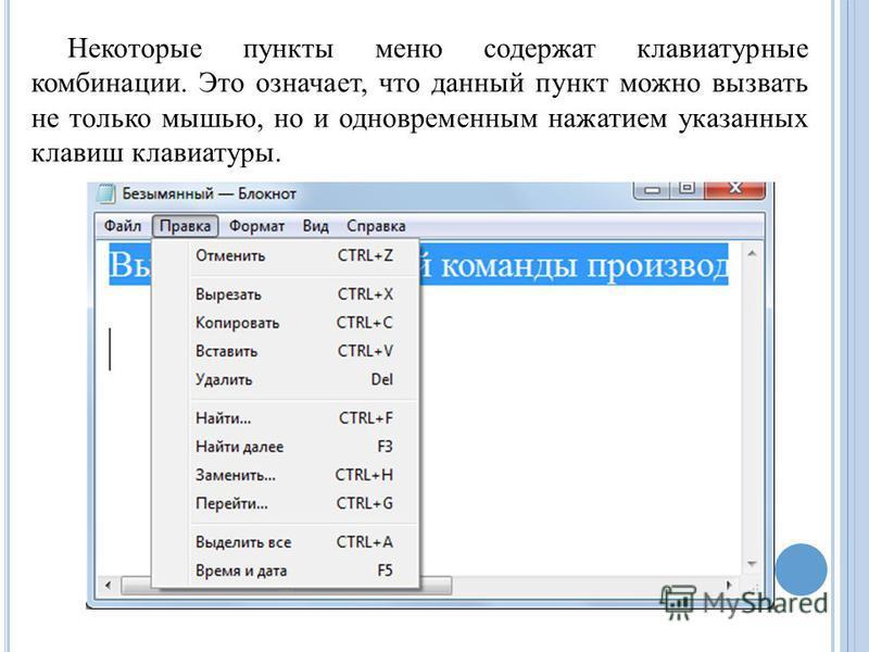 Некоторые пункты меню содержат клавиатурные комбинации. Это означает, что данный пункт можно вызвать не только мышью, но и одновременным нажатием указанных клавиш клавиатуры.