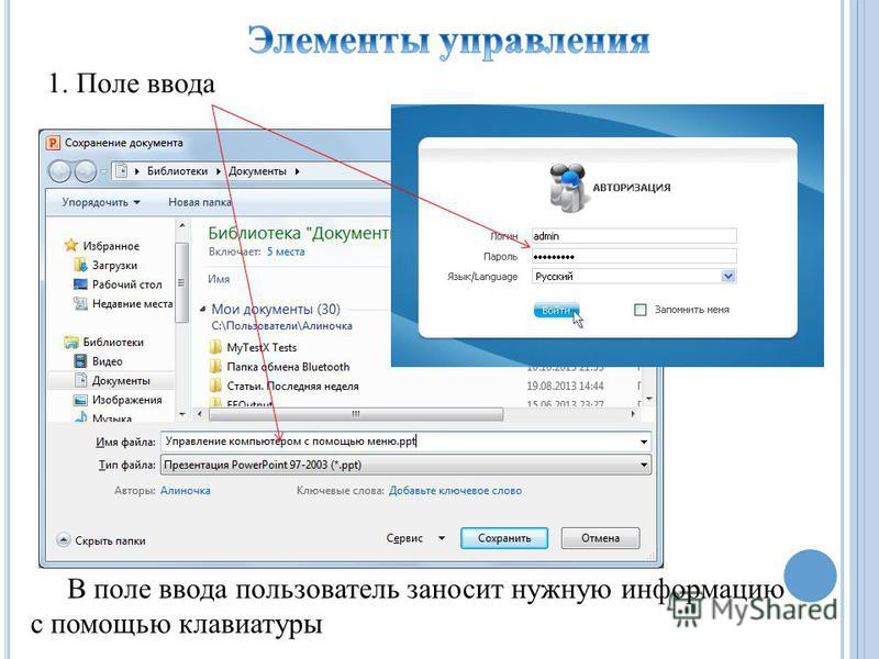1. Поле ввода В поле ввода пользователь заносит нужную информацию с помощью клавиатуры