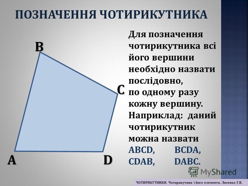 Для позначення чотирикутника всі його вершини необхідно назвати послідовно, по одному разу кожну вершину. Наприклад: даний чотирикутник можна назвати ABCD, BCDA, CDAB, DABC. A B C D ПОЗНАЧЕННЯ ЧОТИРИКУТНИКА ЧОТИРИКУТНИКИ. Чотирикутник і його елементи