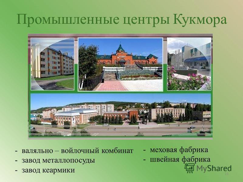 Промышленные центры Кукмора - валяльно – войлочный комбинат - завод металлопосуды - завод керамики - меховая фабрика - швейная фабрика 16