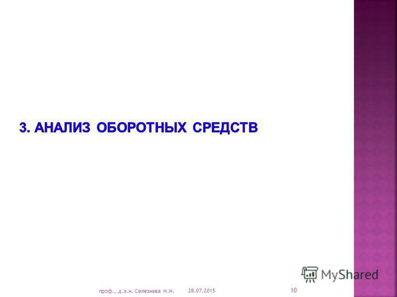 28.07.2015 10 проф., д.э.н. Селезнева Н.Н.