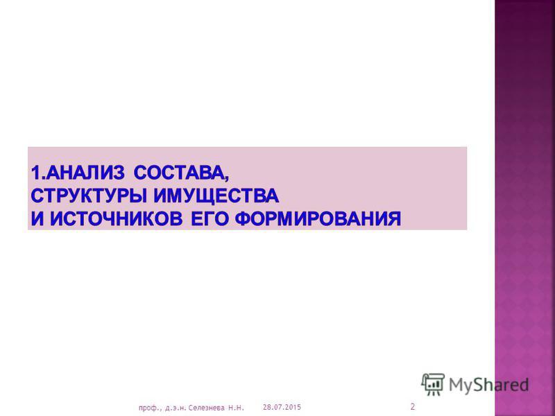 28.07.2015 2 проф., д.э.н. Селезнева Н.Н.